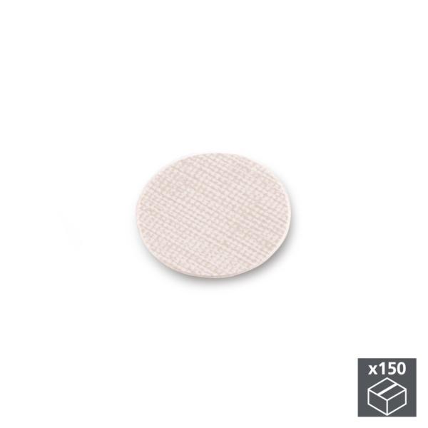 Lote de 150 tapas adhesivas Emuca D. 20 mm en acabado efecto textil beige