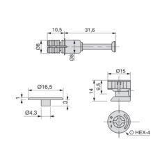 Kit de excéntricas T15 Emuca con pernos Fit para tablero 19 mm - Ítem1
