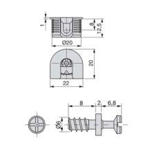 Emuca Enganches para fijación estantes, D. 20 mm, 12,5 mm, + Pernos D. 6, 8 mm, Zamak y Acero, Niquelado, 20 ud. - Ítem3