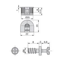 Emuca Enganches para fijación estantes, D. 20 mm, 12,5 mm, + Pernos D. 6, 8 mm, Zamak y Acero, Niquelado, 20 ud. - Ítem1