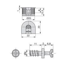 Lotes de 20 kits de enganches Fix Emuca D. 20 x 12,5 mm y pernos D. 6 x 11 mm - Ítem1