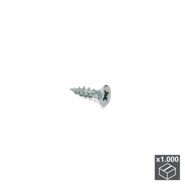 Lote de 1.000 tornillos autorroscantes XZ Emuca D. 3,5 x 16 mm con cabeza plana Pozidrive