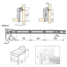 Kit de cajón Ultrabox Emuca altura 150 mm y profundidad 400 mm en color gris metalizado - Ítem1