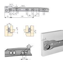 Juego de guías de rodillos T30 Emuca para cajón con extracción parcial L 250 mm en color gris metalizado - Ítem1