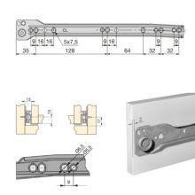 Juego de guías de rodillos T30 Emuca para cajón con extracción parcial L 300 mm en color gris metalizado - Ítem1
