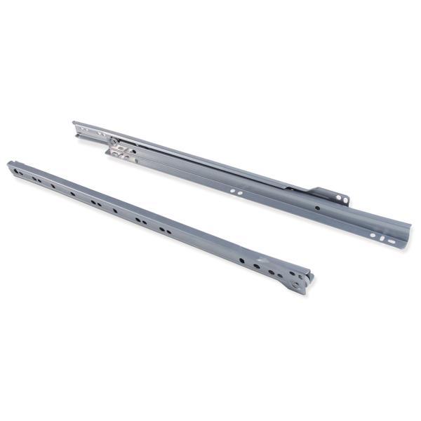 Juego de guías de rodillos T30 Emuca para cajón con extracción parcial L 450 mm en color gris metalizado