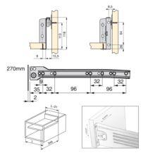Emuca Kit cajón de cocina Ultrabox, altura 118 mm, prof. 270 mm, Acero, Gris metalizado - Ítem2