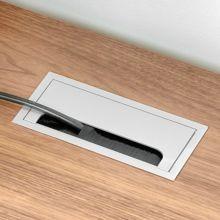 Emuca Pasacables mesa, rectangular, 269 x 80 mm, para encastrar, Aluminio, Anodizado mate - Ítem4