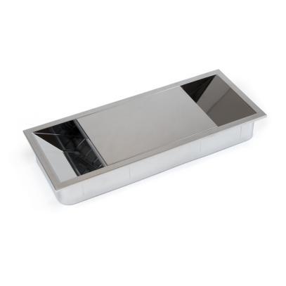 Emuca Pasacables mesa, rectangular, 152 x 61 mm, para encastrar, Plástico,  Cromado