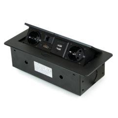 Emuca Multiconector de mesa, 2 USB +1 HDMI + 2 enchufes EU, 265x120 mm, Acero y aluminio, Negro