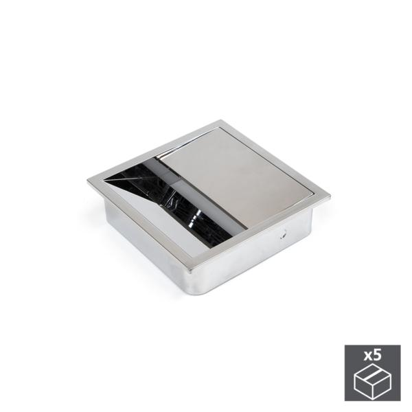 Emuca Pasacables mesa, cuadrado, 85 x 85 mm, para encastrar, Plástico, Cromado, 5 ud.
