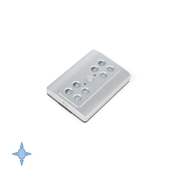 Emuca Luz LED a pilas, sensor de movimiento, Luz blanca fría, Plástico, Gris metalizado
