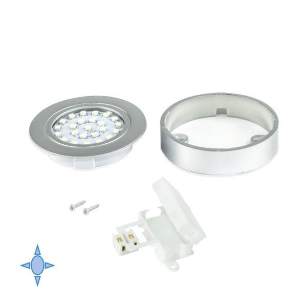 Emuca Foco LED con Soporte, D. 65 mm, Luz blanca fría, Plástico, Gris metalizado