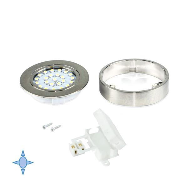 Foco LED Crux-in Emuca luz blanca fría con soporte en níquel satinado