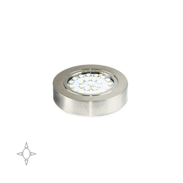 Emuca Foco LED, D. 65 mm, con Soporte, Luz blanca natural, Plástico, Niquel satinado