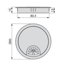 Lote de 7 pasacables Circum Emuca D. 80 mm para encastrar de zamac acabado cromado mate - Ítem1