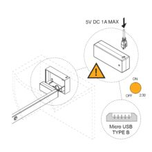 Emuca Barra para armario con luz LED, regulable 1.008-1.158 mm, batería extraible, sensor de movimiento, Luz Blanca natural, Aluminio, Color moka - Ítem3