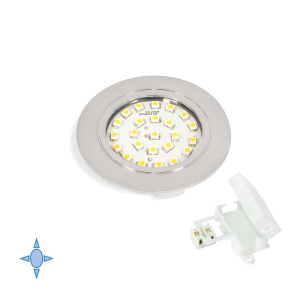 Emuca Foco LED, D. 65 mm, para empotrar, Luz blanca fría, Plástico, Gris metalizado