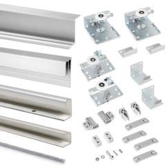 Emuca Sistema corredero para armario 2 puertas colgadas, espesor 16 mm, antidescarrilamiento, perfiles aluminio, Gris metalizado