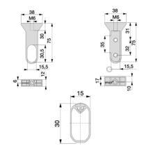 Emuca Barra de armario con goma, ovalada, 30x15 mm, 1.400 mm, Aluminio, Anodizado mate, 2 ud. - Ítem1