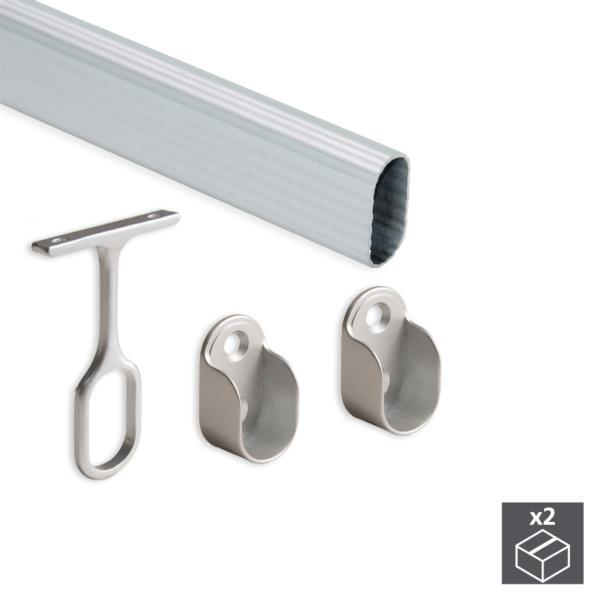 Kit de 2 tubos 30x15mm de aluminio largo 1400mm y soportes Emuca para armario