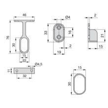 Kit de 2 tubos ovales 30x15mm de acero largo 1400mm y soportes Emuca para armario - Ítem1