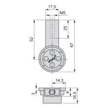 Kit de 2 tubos de aluminio D. 28 x 950mm y soportes Moka Emuca para armario en acabado color moka - Ítem1