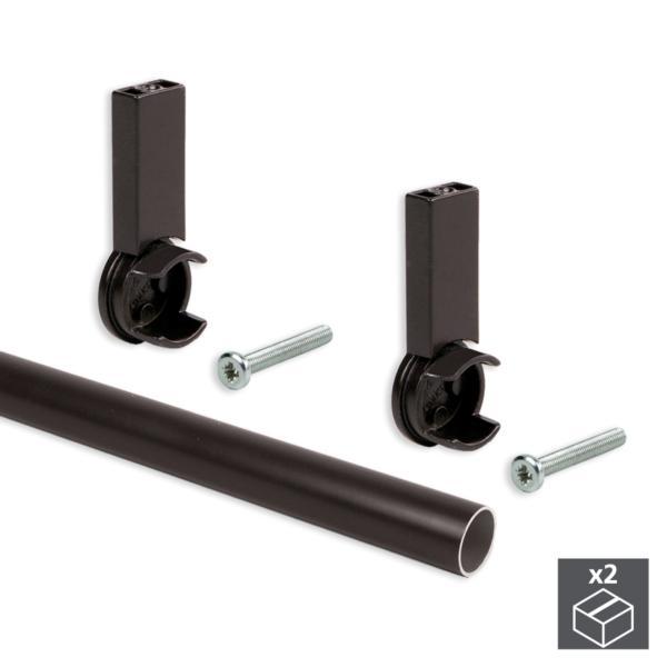 Kit de 2 tubos de aluminio D. 28 x 950mm y soportes Moka Emuca para armario en acabado color moka
