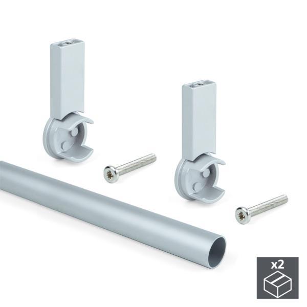 Kit de 2 tubos de aluminio D. 28 x 950 mm y soportes Keeper Emuca para armario en acabado color gris
