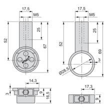 Kit de 2 tubos de aluminio D. 28 x 1400mm y soportes Moka Emuca para armario en acabado color moka - Ítem1