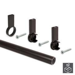 Kit de 2 tubos de aluminio D. 28 x 1400mm y soportes Moka Emuca para armario en acabado color moka