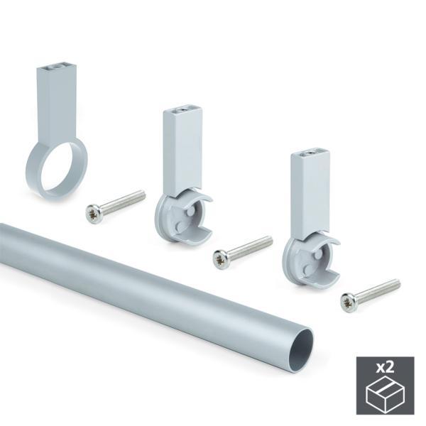 Kit de 2 tubos de aluminio D. 28 x 1400 mm y soportes Keeper Emuca para armario en acabado color gris