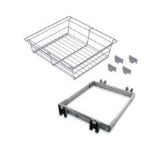 Emuca Kit Cajón metálico y bastidor de guías, regulable, módulo de 600 mm, Acero y aluminio, Gris metalizado. - Ítem1