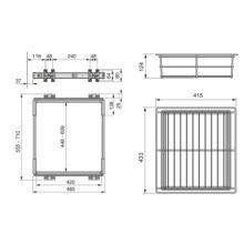 Emuca Kit Cajón metálico y bastidor de guías, regulable, módulo de 600 mm, Acero y aluminio, Gris metalizado. - Ítem2