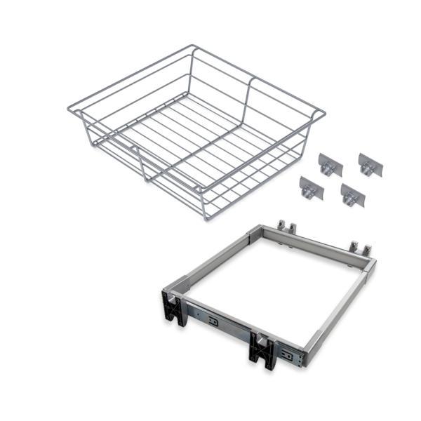 Emuca Kit Cajón metálico y bastidor de guías, regulable, módulo de 600 mm, Acero y aluminio, Gris metalizado.