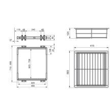 Kit de guía y cajón metálico Keeper Emuca para módulo 800mm en acabado anodizado mate - Ítem1