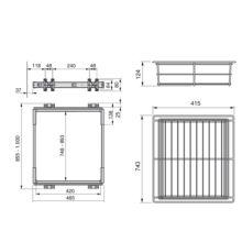 Kit de guía y cajón metálico Keeper Emuca para módulo 900mm en acabado anodizado mate - Ítem1