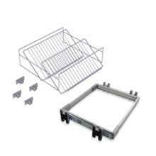 Emuca Kit de zapatero metálico y bastidor de guías, regulable, módulo de 900 mm, Acero y aluminio, Gris metalizado - Ítem1
