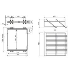 Emuca Kit de zapatero metálico y bastidor de guías, regulable, módulo de 900 mm, Acero y aluminio, Gris metalizado - Ítem2