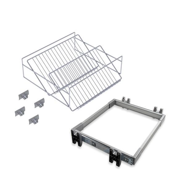Emuca Kit de zapatero metálico y bastidor de guías, regulable, módulo de 900 mm, Acero y aluminio, Gris metalizado
