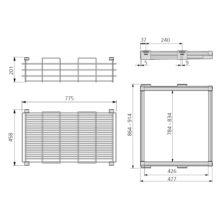 Emuca Kit de Cesta de alambre y bastidor de guías, regulable, módulo de 900 mm, Acero y Aluminio, color moka - Ítem1