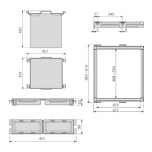 Emuca Kit de Cesto ropa y bastidor de guías con bandejas auxiliares para armario, regulable 564-614 mm, color moka - Ítem1