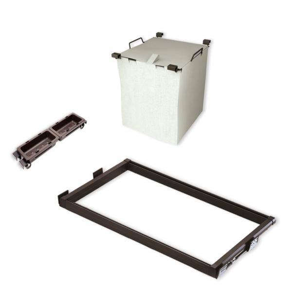 Emuca Kit de Cesto ropa y bastidor de guías con bandejas auxiliares para armario, regulable 564-614 mm, color moka