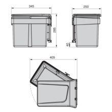 Emuca Contenedor de reciclaje, 15 L, fijación puerta, apertura tapa automatica, Plástico, Gris antracita - Ítem2