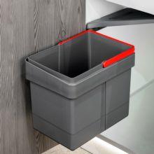 Emuca Contenedor de reciclaje, 15 L, fijación puerta, apertura tapa automatica, Plástico, Gris antracita - Ítem3