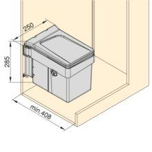 Emuca Contenedor de reciclaje, 15 L, fijación puerta, apertura tapa automatica, Plástico, Gris antracita - Ítem4