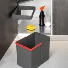 Emuca Contenedor de reciclaje, 15 L, fijación puerta, apertura tapa automatica, Plástico, Gris antracita - Ítem6