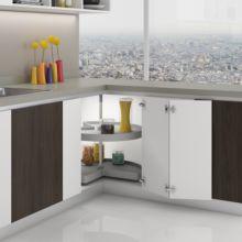 Emuca juego bandejas giratorias mueble de cocina, 270º , módulo 900 mm, Plástico y aluminio, Gris - Ítem4