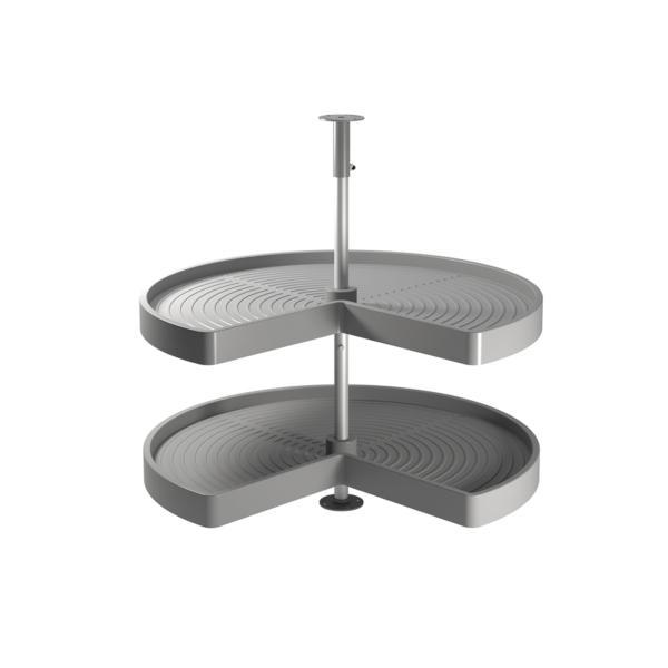 Emuca juego bandejas giratorias mueble de cocina, 270º , módulo 900 mm, Plástico y aluminio, Gris