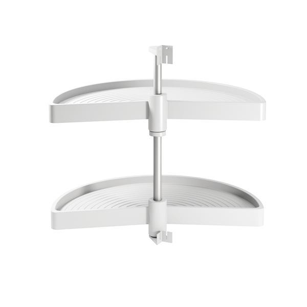 Emuca juego bandejas giratorias mueble de cocina, 180º, módulo 900 mm, Plástico, Blanco